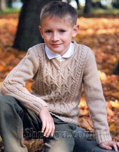 Пуловер аранами для мальчика, вязаный спицами