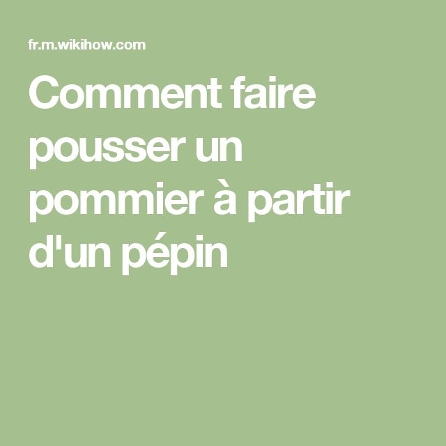 127 best jardin images on pinterest agriculture - Faire pousser un pommier ...