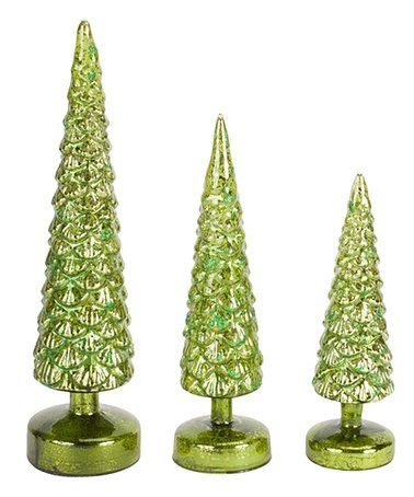 Another great find on #zulily! Green LED Light-Up Tree Decor - Set of Three #zulilyfinds