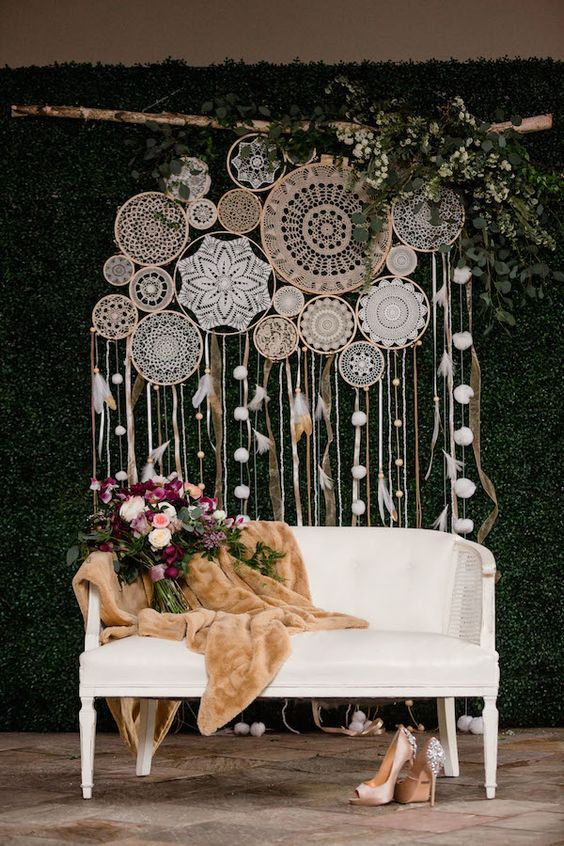 modern boho dreamcatchers wedding backdrop #boho #wedding #backdrop #weddings #w