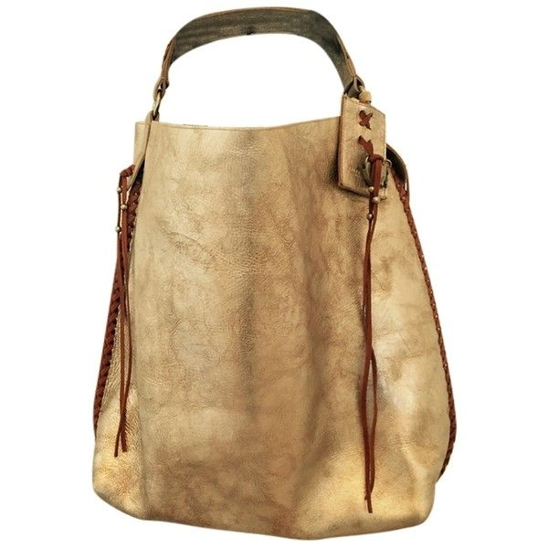 Pre-owned Ralph Lauren Silver/gold Tote Bag (3.634.850 IDR) ❤ liked on Polyvore featuring bags, handbags, tote bags, gold tote, ralph lauren tote bag, bohemian purse, brown handbags and bohemian handbags