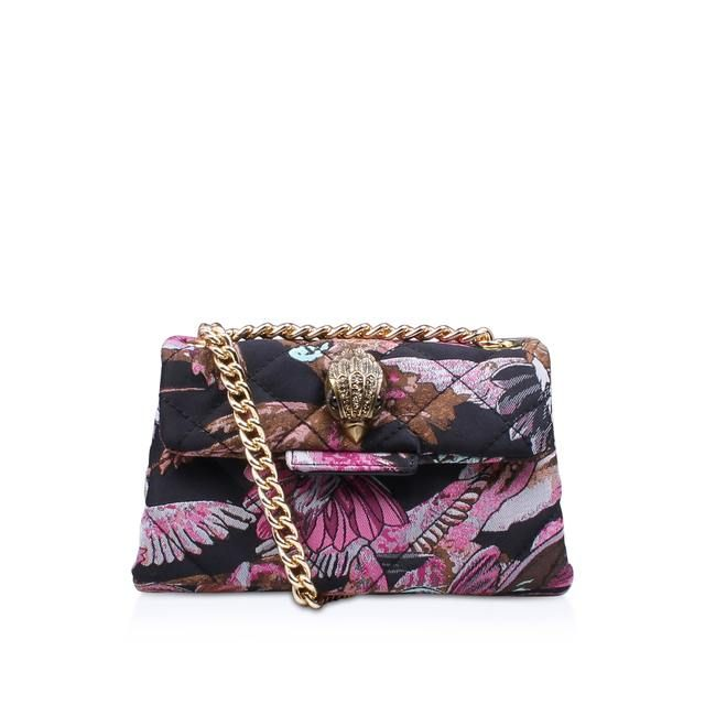 Colourful and compact, Fabric Mini Kensington by Kurt Geiger London adds a playful finish to ensembles. With soft construction and plush quilting, this floral-printed handbag comes with a statement embellishment and gleaming chain strap.
