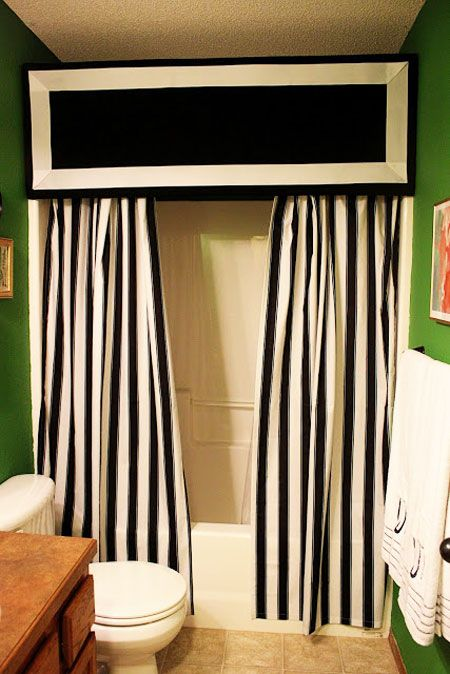 Superb 15 DIY Shower Curtain Projects Anyone Can Make! Use Top For The Café Sign.