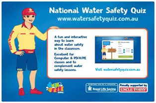 Check out the National Water Safety Quiz and test your water safety knowledge with Lochie the Lifeguard! The National Water Safety Quiz is a useful classroom resource to get children thinking about water safety. It can also complement school-based learn to swim programs, such as Swim and Survive. The quiz includes information on safe and unsafe behaviours and rules at a wide variety of aquatic locations, as well as water safety signs, rips, rescues and CPR