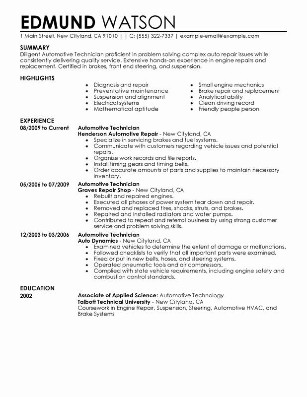 Auto Mechanic Resume Objective Examples Awesome Automotive Technician Resume Examples Created By Pros In 2020 Automotive Technician Resume Examples Resume