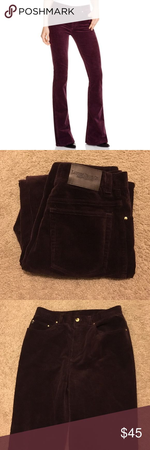 """Ralph Lauren fig plum boot cut corduroys Ralph Lauren """"Lauren Jean Co"""" corduroy cords pants size 8. Boot cut, 7.5"""" leg opening. Beautiful dark plum/fig (dark plum purple/brown) color with gold hardware. Front and back pockets and zipper. Hips measure 14.5"""" (top of pants.) Inseam 30"""". No wear on bottoms. Like new condition! Top picture for style suggestion only! See bottom three pictures for actual pants. The color is much more vibrant in person. Ralph Lauren Pants"""
