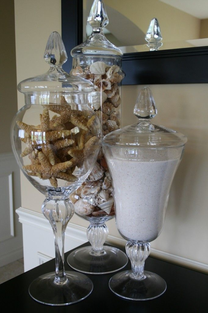summer apothecary jar fillers- gotta bring something back from cabo for my jars!