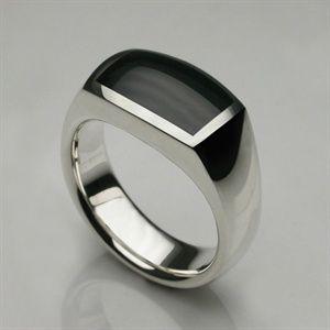 Oxford Ring Silver & Hand Cut Onyx
