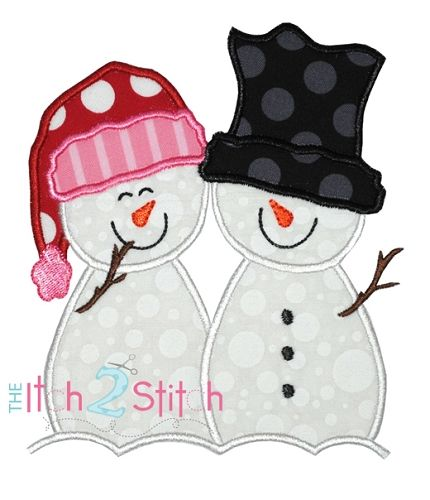 I2S Snowman Couple Applique