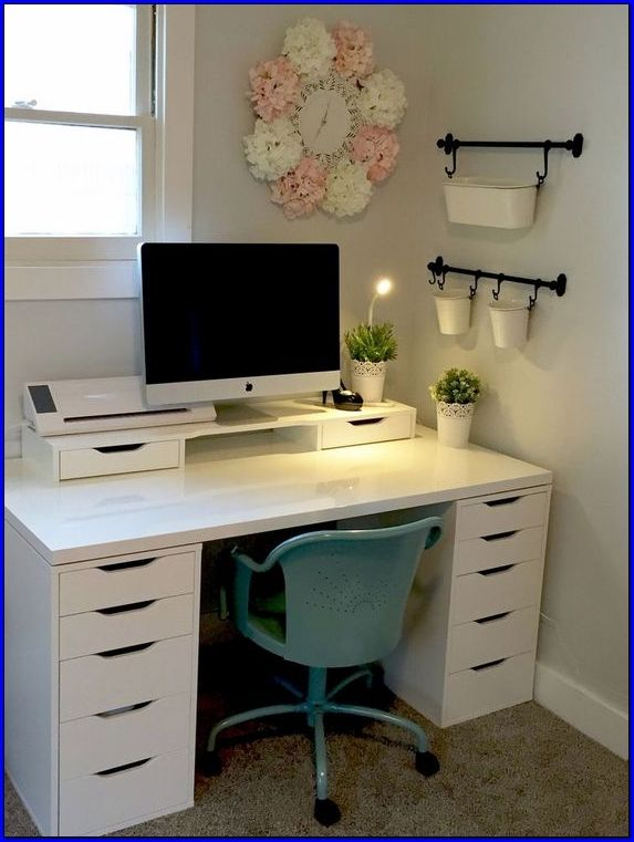 Home Office Image By Jodi Smith Ashby In 2020 Ikea Small Office Small Office Furniture Makeover