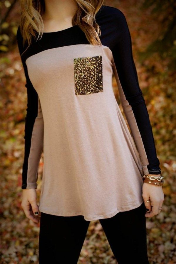Color Blocked Tunic with Sequin Pocket   Jane