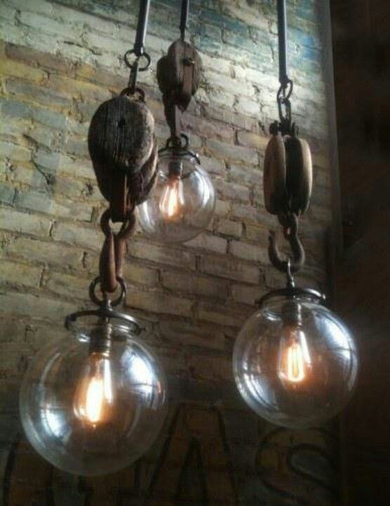 Old Pulley Pendant Lights