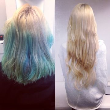 Wham bam! Color correction and stunning remy blonde human hair extensions all in one day. Yes, you can get top quality blonde extensions that don't tangle, mat or fray. It's time you start asking for better quality ;)