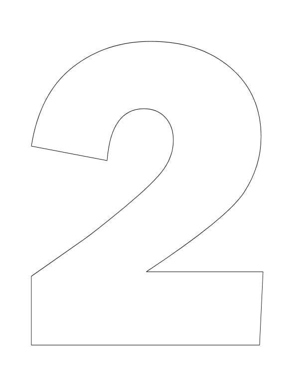 Number 2 Template | Number Two Coloring Page - Teach Counting Skill Using This Number ...