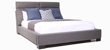 Lit rembourré Milan avec appui-têtes ajustable pour un confort inégalé. Upholstery Milan Bed with adjustable headrest for more comfort. Modern bedroom.