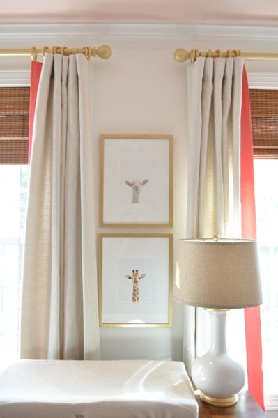 curtain detail; flax linen panels with a 4 inch banding of coral linen, all from Gray Line Linen. Or line with color!
