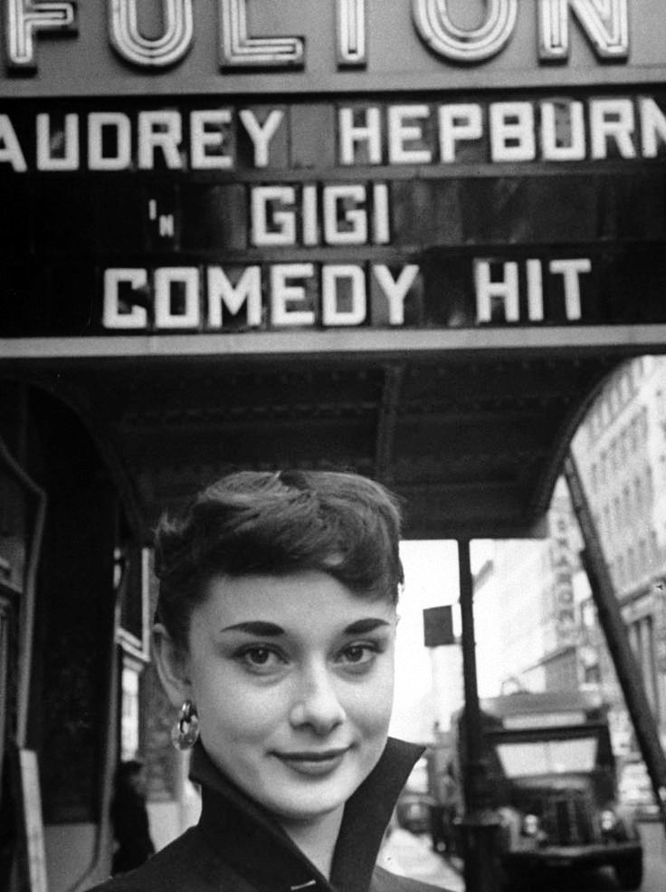 Audrey Hepburn in front of the Fulton Theatre, 1951.  Audrey was in New York City making her American debut performing as the title role in the Broadway play Gigi.