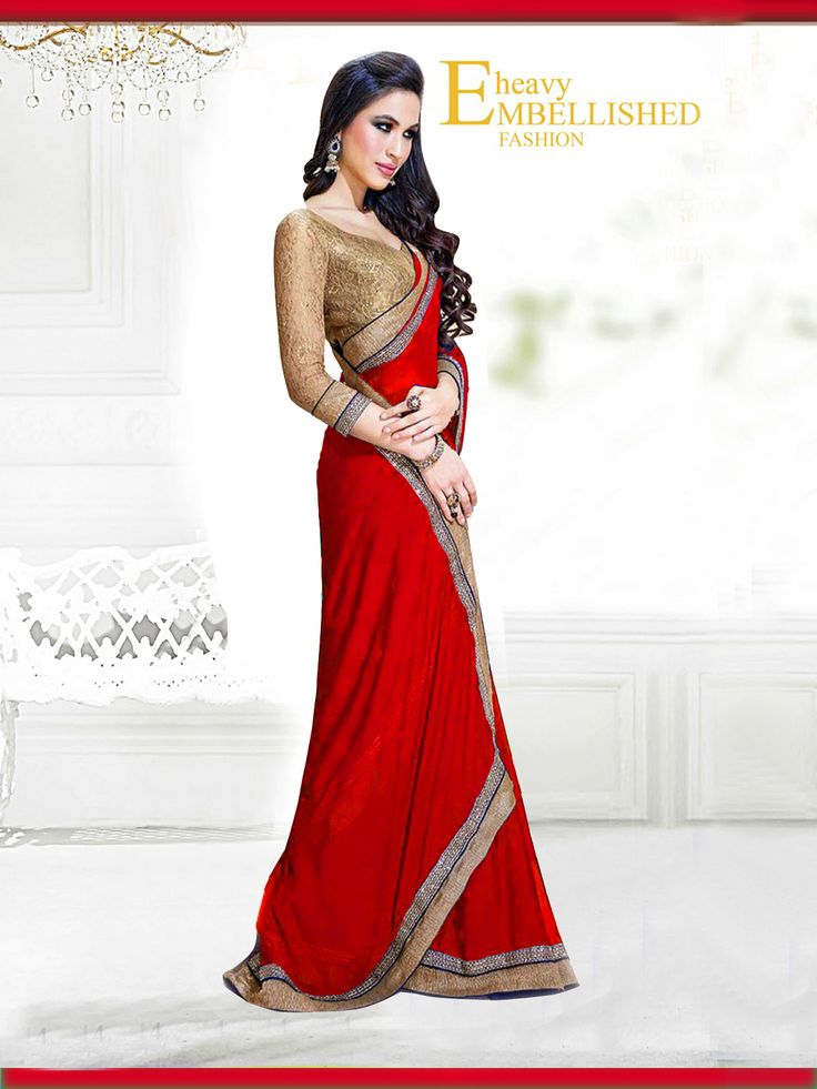 Fabric/Material:- #Saree : Dhupian|Blouse: #Chiffon | Pattern: #Printed Color: #Red Size : Saree: 5.50Mtr. | Blouse: .80Mtr. | Price: 615/- #SuratTex