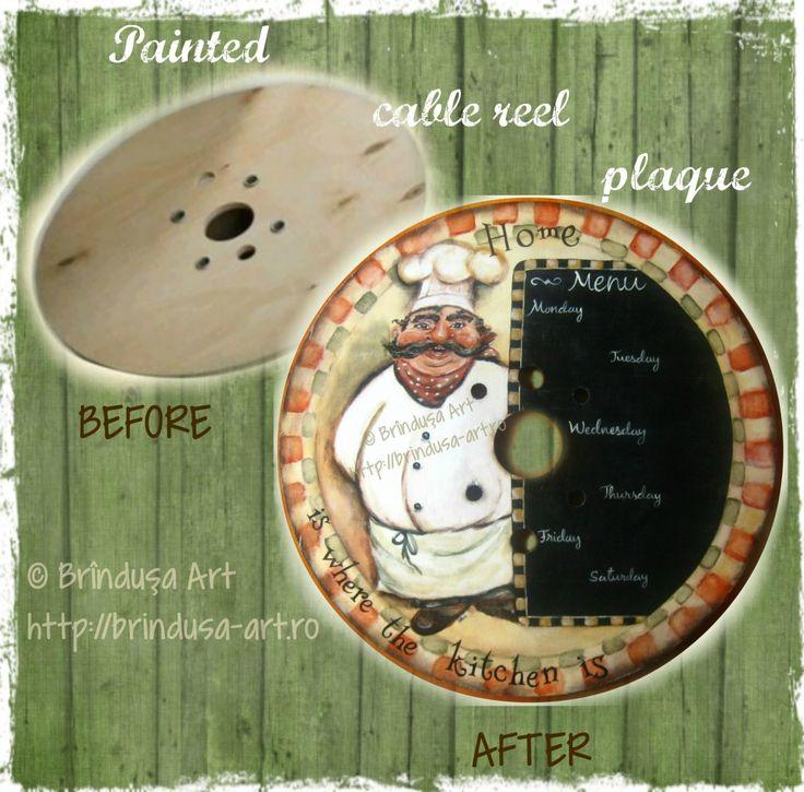 Brîndușa Art Before and after: formerly part of a large cable reel, now painted plaque, ready to adorn a kitchen wall. Cook / menu ... Înainte şi după: de la o parte a unui tambur mare pentru cabluri, la o placă pictată, de pus pe perete în bucătărie. Bucătar / meniu ...