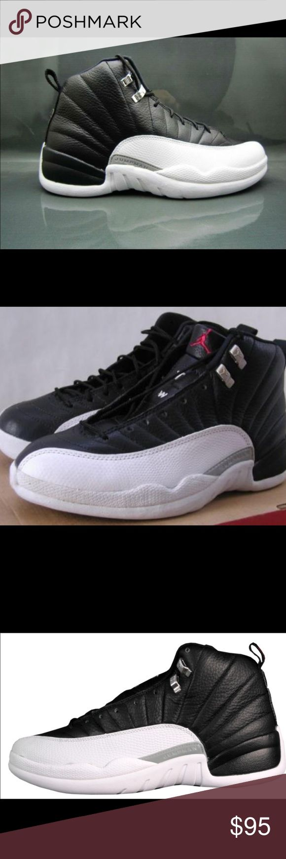 Jordan 12 Black and White Jordan 12's worn a couple times and in great condition. They are a big kids 7/ women's 8.5 Jordan Shoes Sneakers