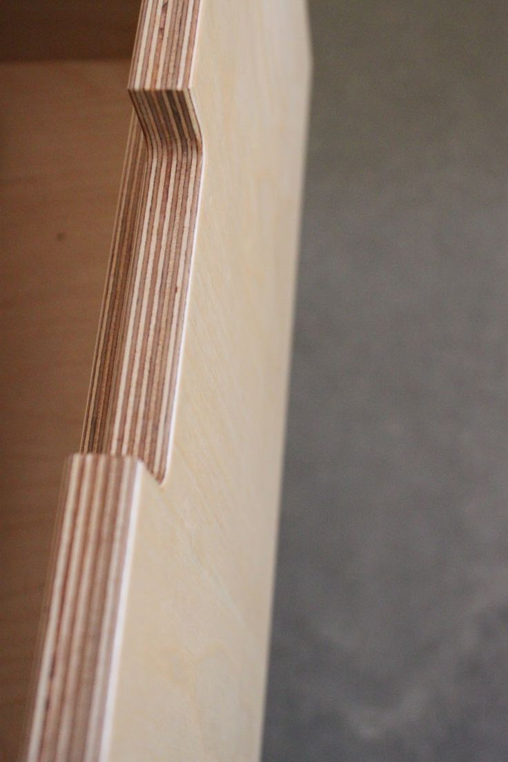 Plywood kitchen cabinets - cutout drawer handle detail.