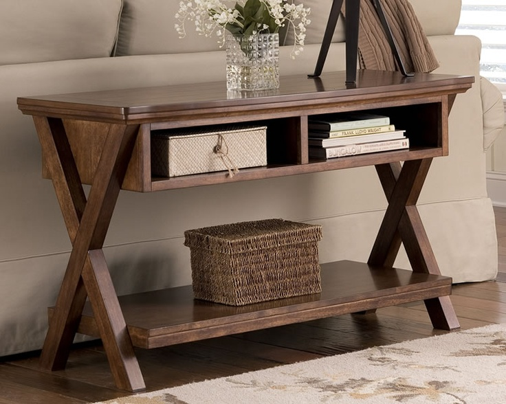 Burkesville Brown Rustic Console Table with Storage
