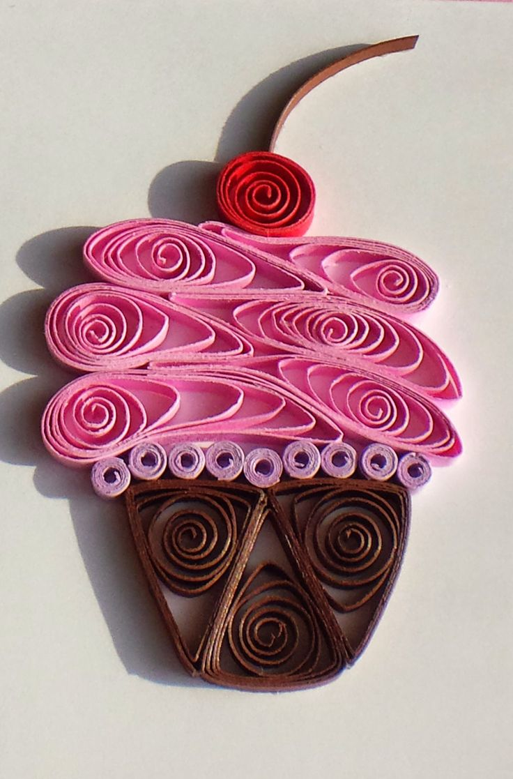 Quilled Paper Greeting Card Pink Cupcake on White by CraftiMiMi