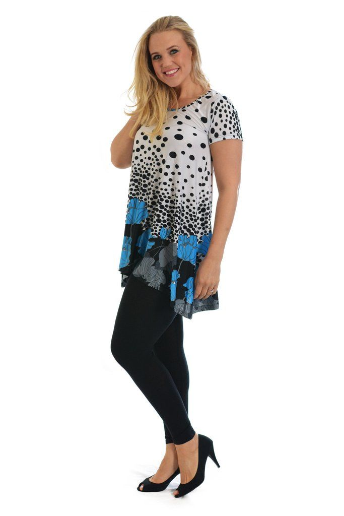 Lovely Floral Polka Dot Plus Size Tunic Top - Blue