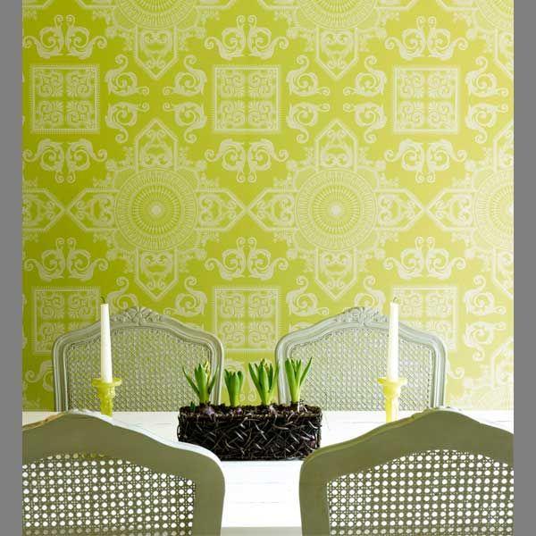 Gm Wohndesign: Fannie Mae Avocado Lattice Damask [GB17782M-ASTT] Classic