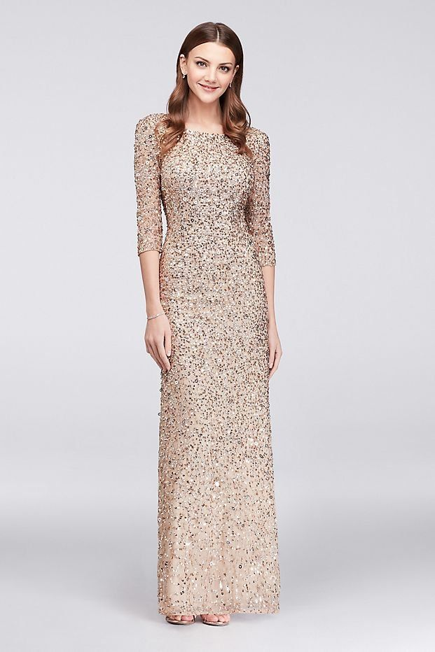 Scoop Back Champagne Silver Sequin Mother Of The Bride Gown By Adrianna Papell Available At David S Bridal