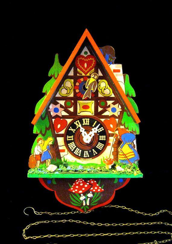 Hansel & Gretel Clock by wierclock on Etsy, $59.00  #vintage #clocks #midcentury