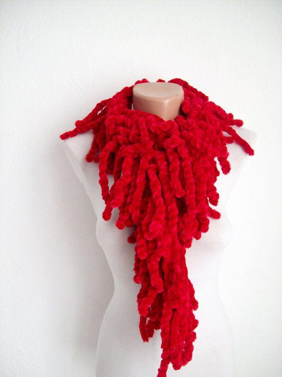 Red knit scarf  soft velvet  Fall Fashion Holiday by nurlu on Etsy, $15.00