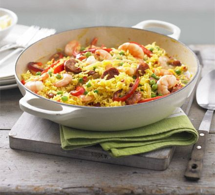 Spanish classic paella is given a healthy makeover and a good kick of heat - diet-friendly and fresh
