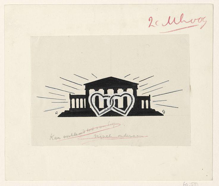 Leo Gestel | Ontwerp voor een vignet: tempel met twee ineengeklonken harten, Leo Gestel, 1891 - 1941 |