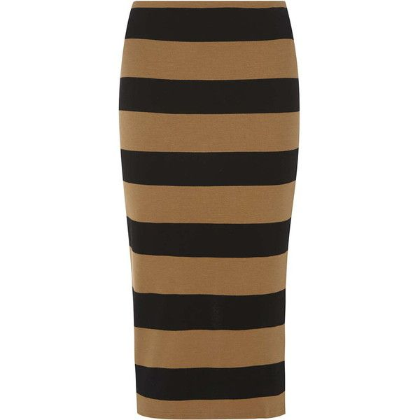 Camel and Black Striped Tube Skirt (535 ZAR) ❤ liked on Polyvore featuring skirts, camel, tube skirt, striped skirts, camel skirt, striped tube skirt and stripe skirts