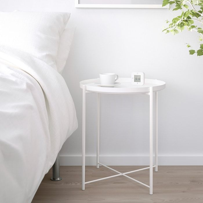 Gladom Tray Table White 17 1 2x20 5 8 Ikea In 2020 Tray Table White Side Table Bedroom White Side Tables