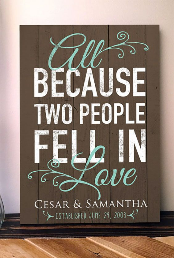"Rustic personalized wooden pallet wedding sign. ""All because two people fell in love."" Get it customized with your names and wedding date. She'll also customize further."