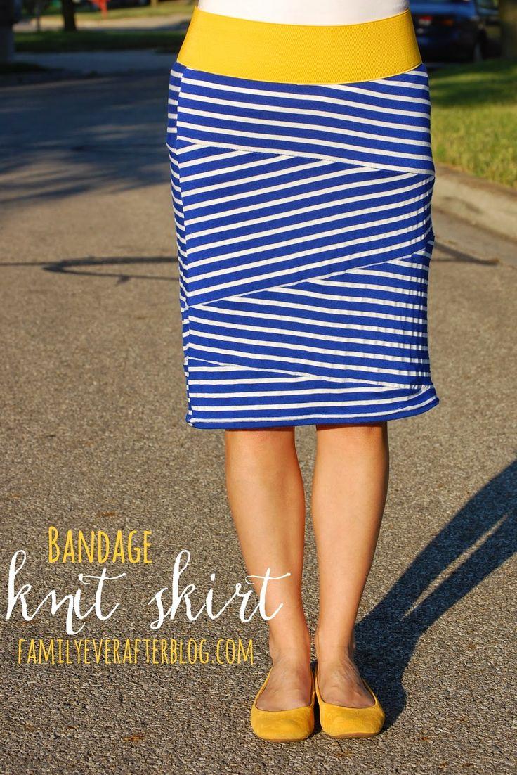 Family Ever After....: Sewing Tutorial: Bandage Style Knit Skirt===================================================zie hoe je deze leuke rok met bijzondere banen heel makkelijk zelf maakt. Gekleurd breed elastiek vind je in de stoffenzaken of op de stoffenkramen op de markt.. Wondertape is natuurlijk mooi om de onder naad van de rok netjes af te werken