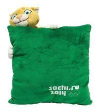 Т55400 Decorative Green Plush Pillow LEOPARD Mascot SOCHI 2014 OLYMPICS RUSSIA