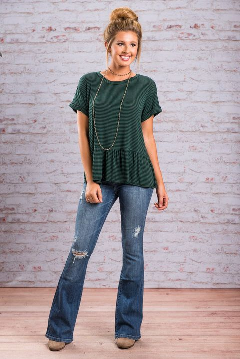 """""""Feminine Feels Top, Green""""This adorable top is the perfect combo of feminine and casual! The jersey knit and stripes give it the casual feel but that precious ruffle gives it the feminine feel! #newarrivals #shopthemint"""