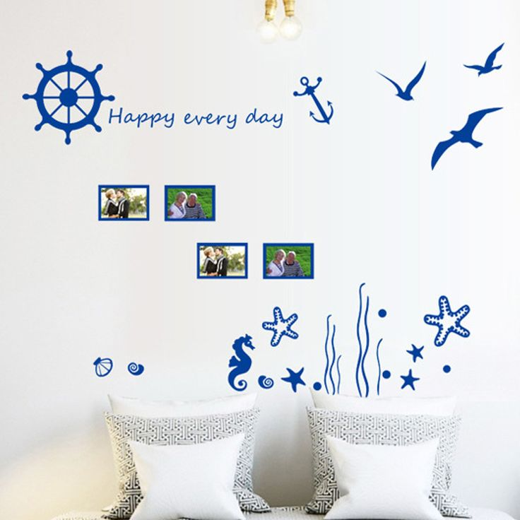 The Mediterranean-style lighthouse wall sticker seagull Sailboat dormitory bedroom sofa background photo wall stickers