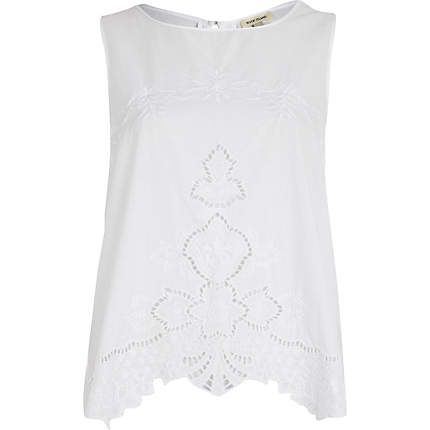 White floral embroidered tank top £20.00