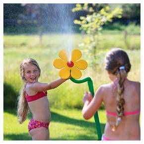 Daisy, the Dancing Flower keeps kids entertained for hours. Simply attach the grow with me Daisy to any standard garden hose, turn on the water and watch the Daisy dance. The shower spray pattern sprays and dances like crazy. Kids try to catch the foam flower as it dances about. This sprinkler is great for keeping cool on a hot summer day or as a whimsical indirect sprinkler for your garden. The heavy duty foam flower with dual spike base lasts season-after-season.