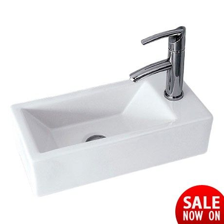 Nexo 450 Rectangular Wall Hung Right Basin  - The Nexo basin is compact, sharp and swish. Ideal for the modern trendy cloakroom or en suite, this basin has the style of a New York penthouse at an affordable price.
