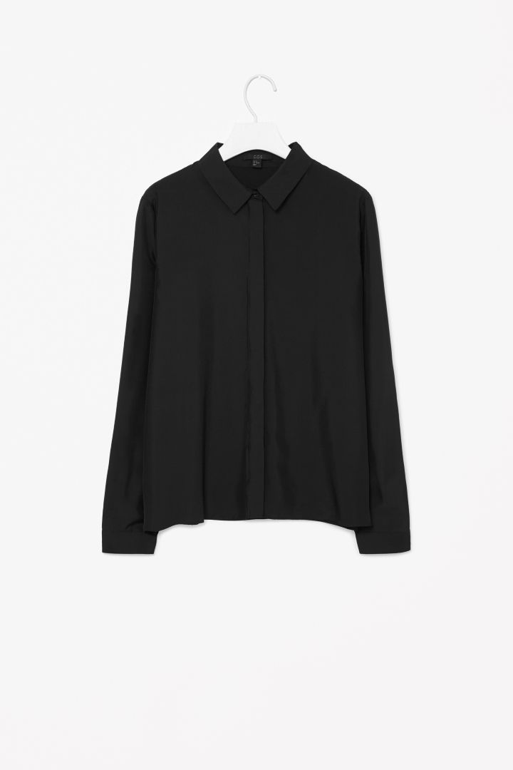 Straight-cut silk shirt