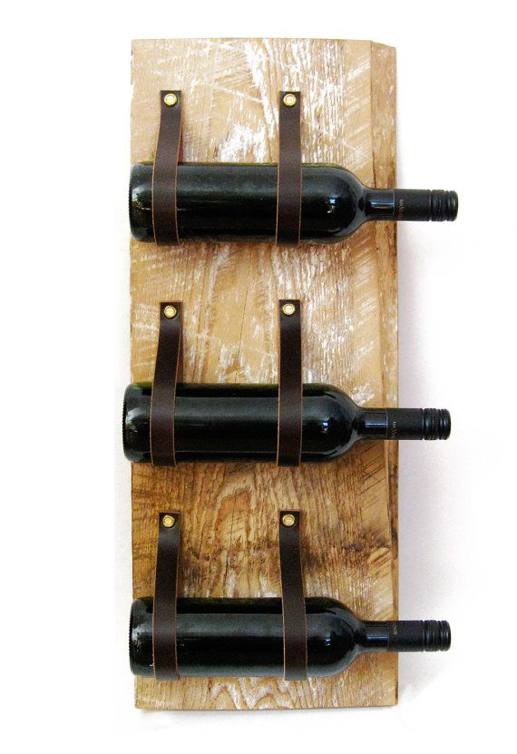 Wine Rack with reclaimed wood and recycled leatherLeather Bottle Ideas