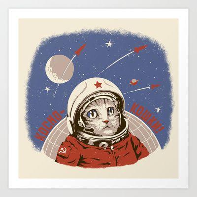 Soviet Space Cat Art Print by Chris Kawagiwa - $14.99