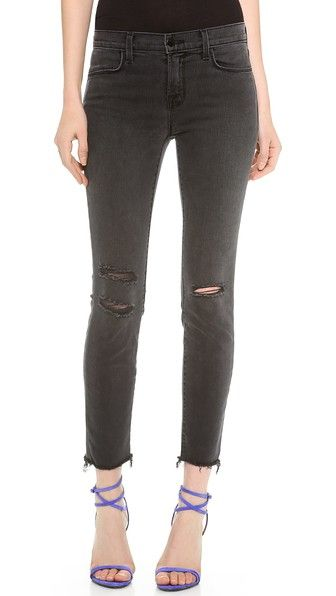 Distressed cropped skinny jeans. Perfect for fall. Need we say more? -  J Brand Photo Ready Cropped Mid Rise Skinny Jeans