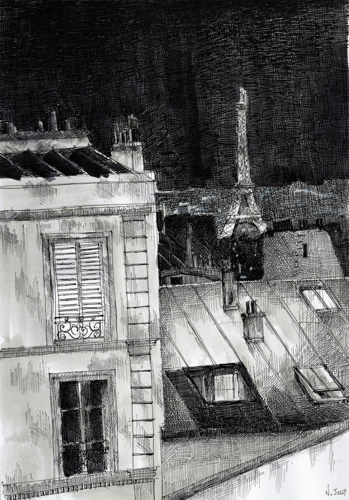 Les toits de Paris. Black ink drawing. By Nicolas Jolly. #drawing #watercolor #painting #art