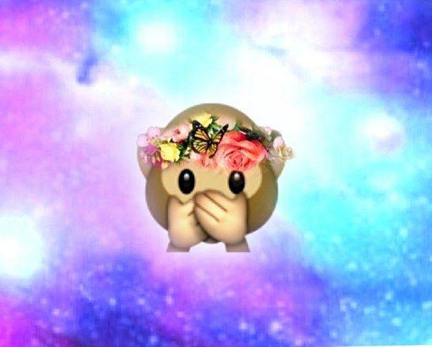 Monkey Emoji | emoji, flowers, galaxy, hipster, monkey, nice, perfect, swag - image ...